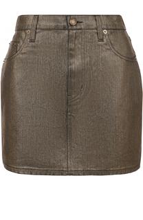 Джинсовая мини-юбка с карманами Saint Laurent