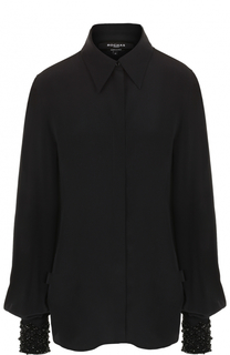 Шелковая блуза с декорированными манжетами Rochas