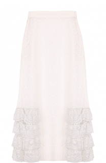 Кружевная юбка-миди с оборками Rodarte