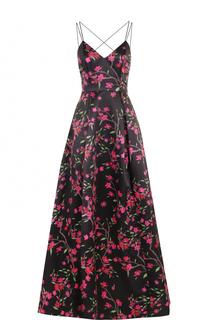 Приталенное платье-макси с открытой спиной и цветочным принтом Alice + Olivia