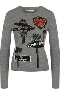 Шерстяной пуловер прямого кроя с контрастной отделкой Alice + Olivia