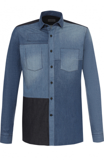 Хлопковая рубашка с контрастной отделкой Lanvin
