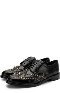 Кожаные броги с заклепками Dolce & Gabbana