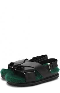 Кожаные сандалии Fussbett с внутренней отделкой из меха норки Marni