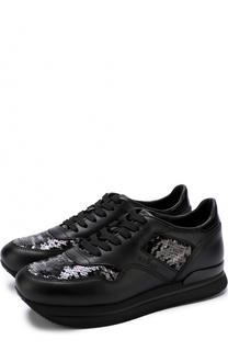 Кожаные кроссовки с вышивкой пайетками Hogan