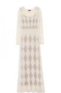 Приталенное вязаное платье-макси с длинным рукавом Missoni