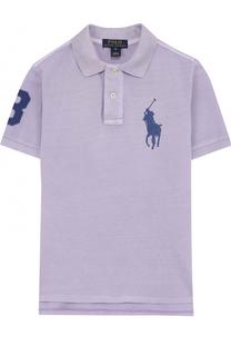 Хлопковое поло с нашивкой и логотипом бренда Polo Ralph Lauren