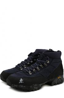 Текстильные ботинки на шнуровке с замшевой отделкой Premiata