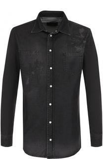 Джинсовая рубашка на кнопках с принтом Philipp Plein