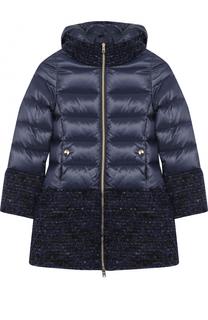 Пуховое пальто с текстильной отделкой и капюшоном Herno