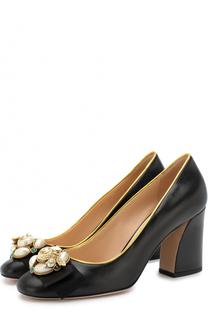 Кожаные туфли Etoile с брошами Gucci