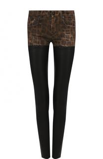 Кожаные брюки-скинни с леопардовой вставкой R13