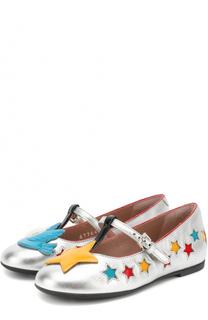 Кожаные туфли на ремешке с аппликациями Gucci