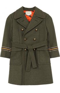 Шерстяное двубортное пальто с аппликациями и поясом Gucci