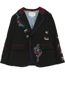 Пиджак на двух пуговицах с контрастной вышивкой Gucci