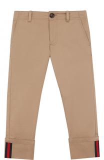 Хлопковые брюки прямого кроя с контрастной отделкой Gucci