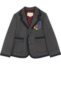 Пиджак из шерсти и кашемира с контрастной отделкой и нашивкой Gucci