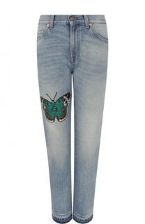 Джинсы прямого кроя с вышивкой в виде бабочки Gucci