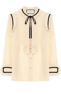 Прозрачная шелковая блуза с плиссированными оборками Gucci