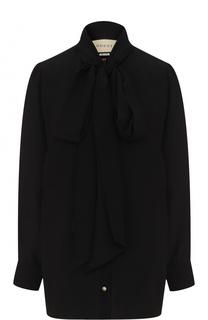 Шелковая блуза с воротником аскот и принтом на спинке Gucci