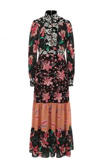 Приталенное платье-макси с воротником-стойкой и принтом Gucci
