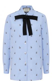 Хлопковая блуза прямого кроя с бантом Gucci