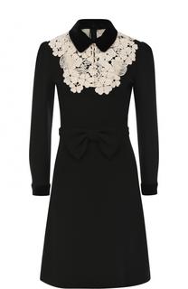 Приталенное платье-миди с контрастной кружевной вставкой Gucci