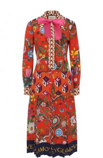 Приталенное шелковое платье-миди с принтом Gucci