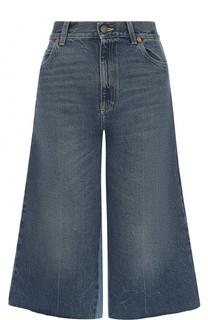 Укороченные расклешенные джинсы с потертостями Gucci