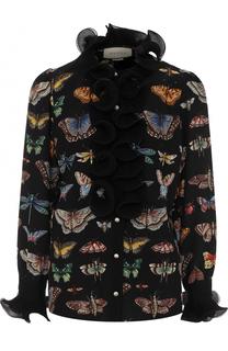 Шелковая блуза с принтом и оборками Gucci
