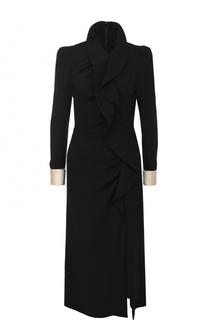 Приталенное шерстяное платье-миди с контрастными манжетами Gucci