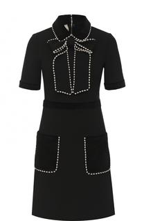Приталенное мини-платье с коротким рукавом Gucci
