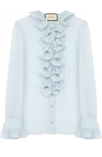 Шелковая прозрачная блуза с оборками Gucci