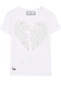 Хлопковая футболка с заклепками и кристаллами Philipp Plein