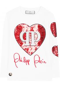 Хлопковый лонгслив со стразами и пайетками Philipp Plein