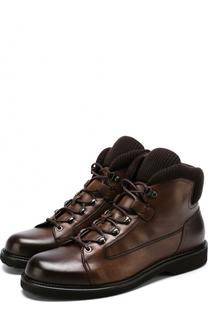 Высокие кожаные ботинки с текстильными вставками Ermenegildo Zegna