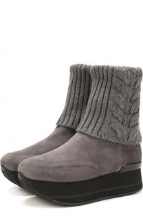 Замшевые ботинки с вязаной вставкой на платформе Hogan