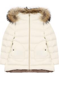 Пуховая куртка с меховой отделкой на капюшоне Herno