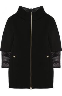 Пальто прямого кроя с воротником-стойкой и отделкой на рукавах Herno