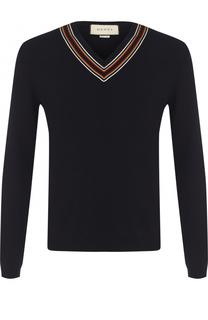 Шерстяной пуловер с контрастной отделкой Gucci