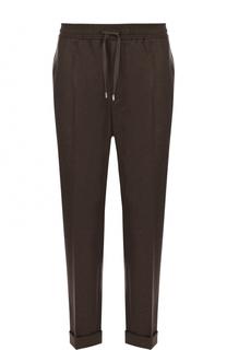 Шерстяные брюки прямого кроя с поясом на кулиске Gucci