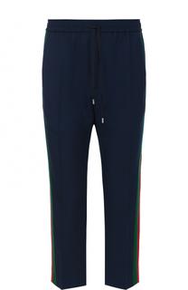 Шерстяные укороченные брюки с поясом на кулиске Gucci