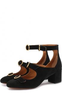 Замшевые туфли Buckles на устойчивом каблуке Chloé