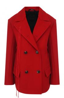 Двубортное укороченное пальто свободного кроя Maison Margiela