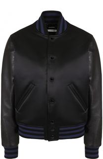 Бомбер свободного кроя с кожаными рукавами Givenchy