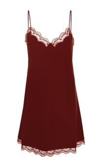 Шелковое платье-комбинация с кружевной отделкой Chloé
