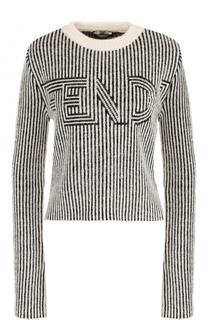 Шерстяной пуловер с круглым вырезом и логотипом бренда Fendi