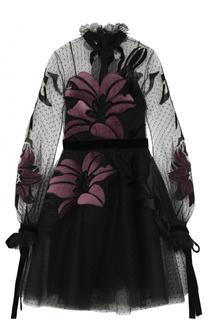 Приталенное мини-платье с длинным рукавом Elie Saab