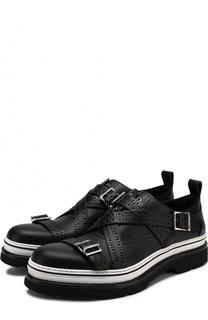 Кожаные ботинки без шнуровки с декоративными ремешками Dior