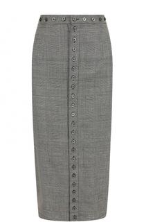 Шерстяная юбка-карандаш в клетку Olympia Le-Tan